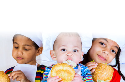 three kids eating